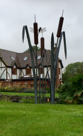 Giant Dragonfly on Bulrush garden sculpture