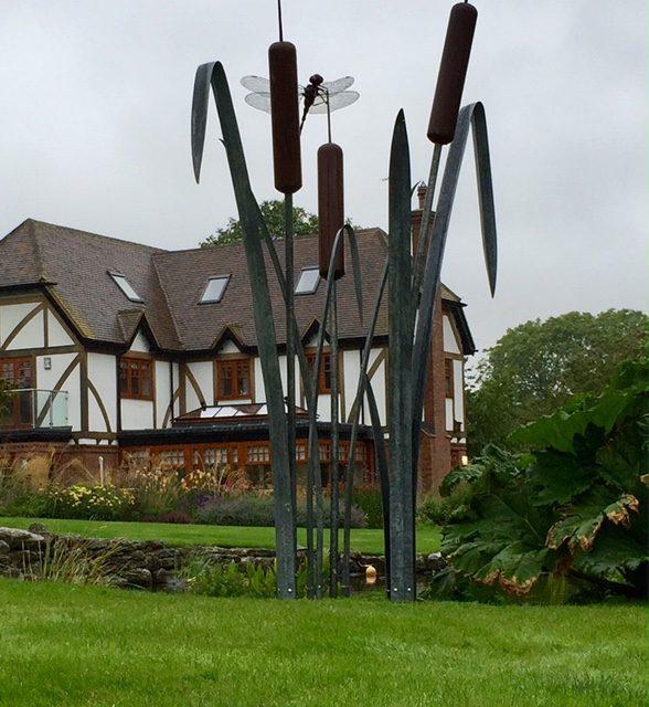 Giant Dragonfly on Bulrush garden sculpture