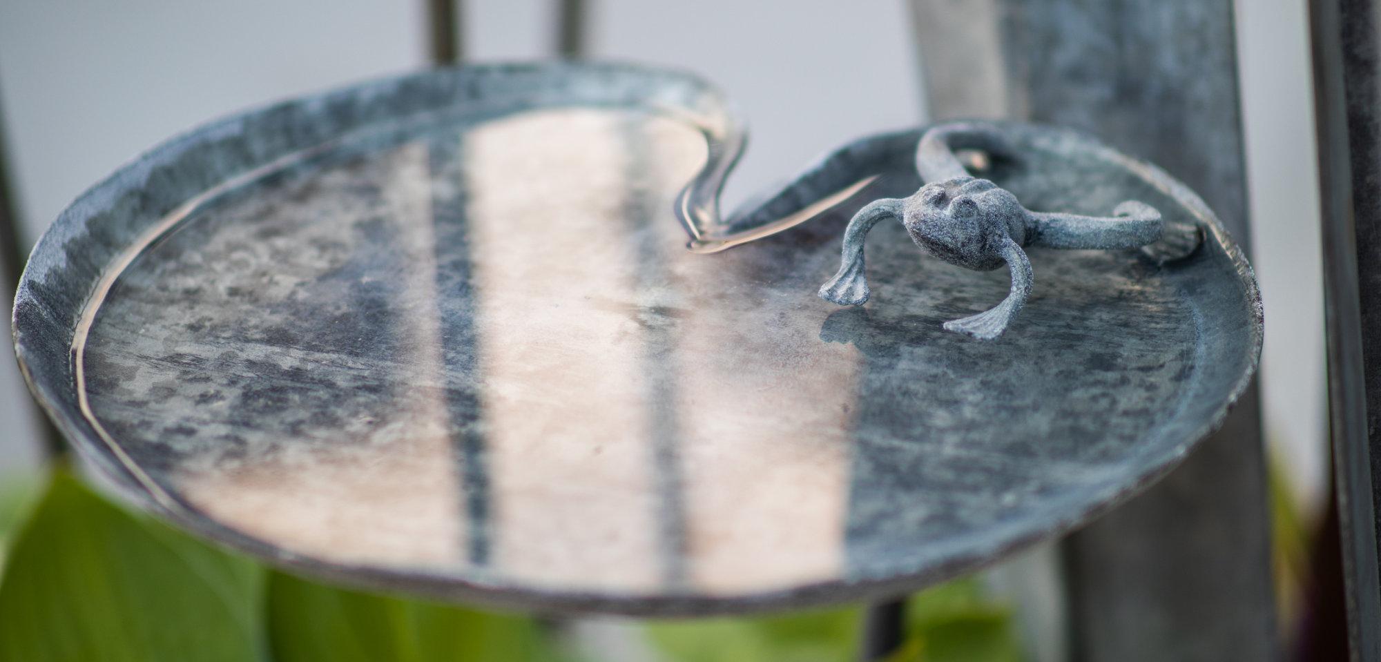 Frog Lily Pad Garden Bird Bath by Ian Gill Sculpture