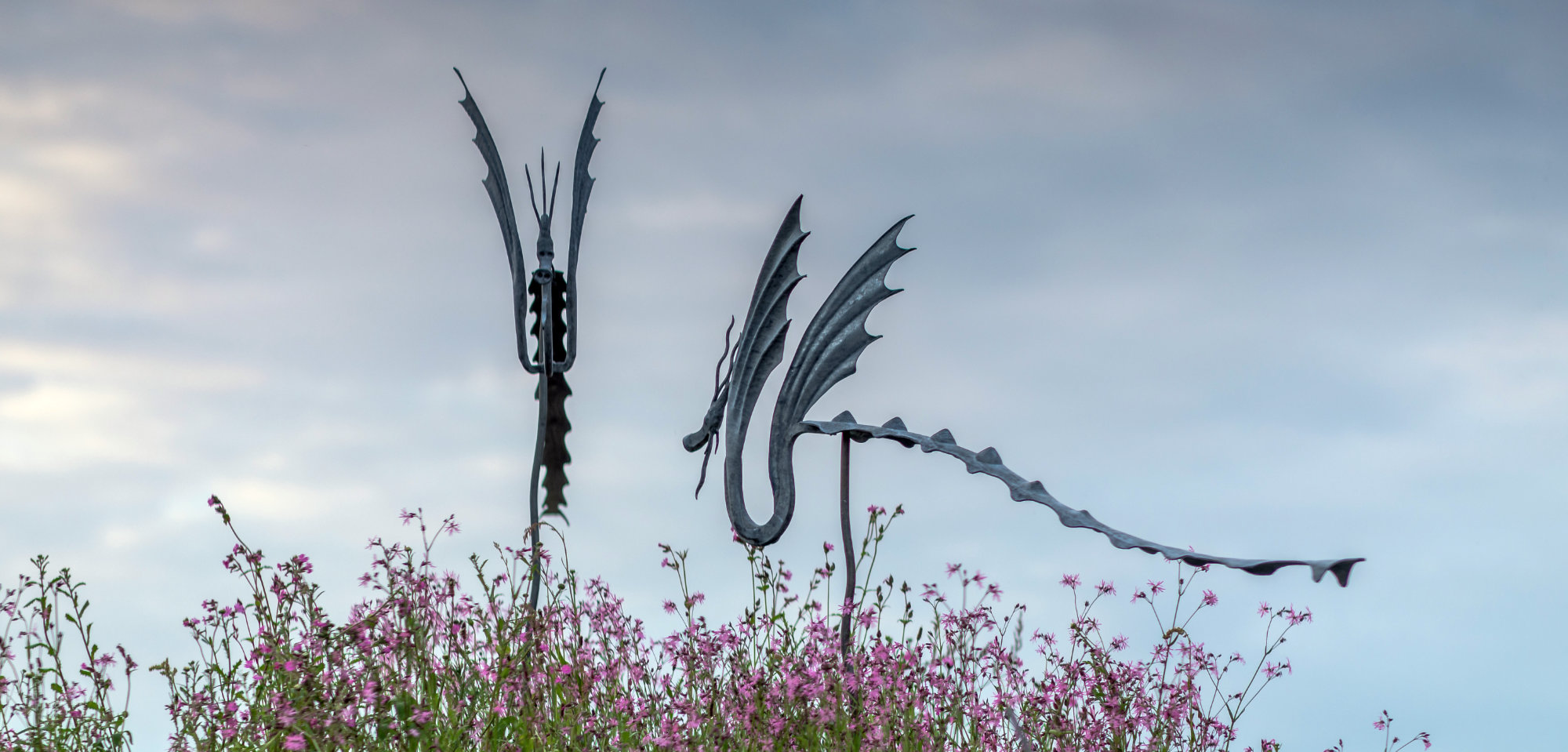 Wind Dragons by Ian Gill Sculpture at Chelsea Flower Show