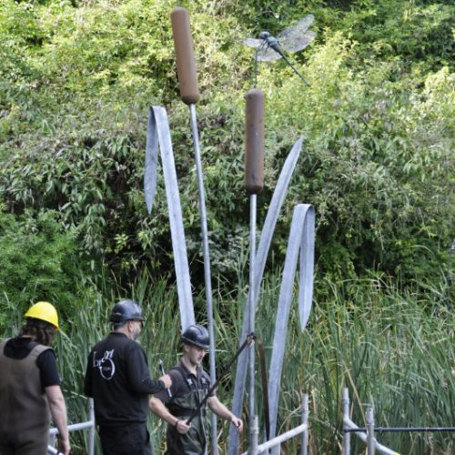 Giant Dragonfly & Bulrush sculpture build at Le Manoir
