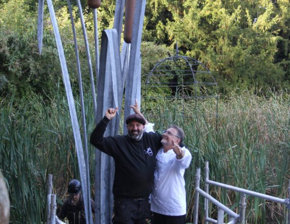 Giant Dragonfly & Bulrush Sculpture at Le Manoir with Raymond Blanc