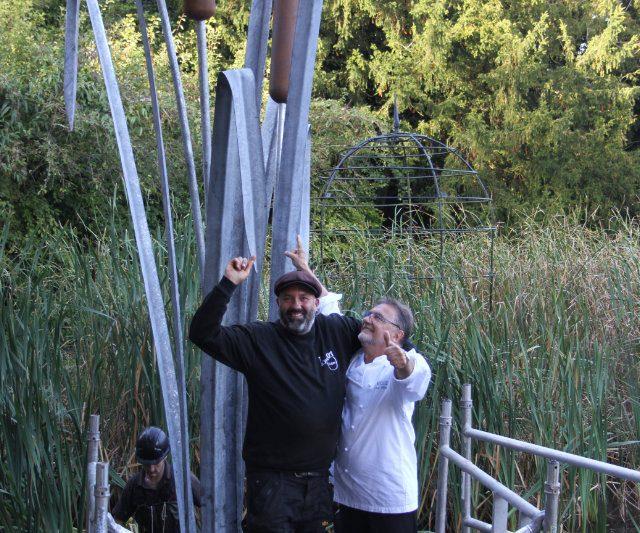 Giant Dragonfly & Bulrush Sculpture at Le Manoir with Raymond Blanc
